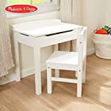 Melissa & Doug Child's Lift-Top Desk & Chair (Sturdy Wooden Chair & Desk Set, Safety-Hinged Lid, White, 16.1' H x 23.6' W x 23.2' L)