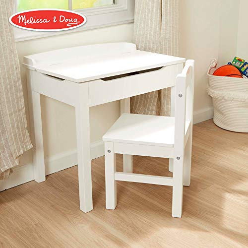 Melissa & Doug Child's Lift-Top Desk & Chair (Sturdy Wooden Chair & Desk Set, Safety-Hinged Lid, White, 16.1