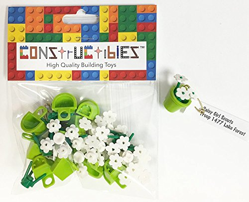 Constructibles Girl Scout Swaps Kit   10 Lego Daisies  Green  Swaps