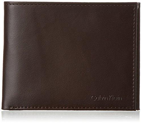 Calvin Klein Men's RFID Blocking Leather Bifold Wallet, Passcase Brown, One - Passcase Bi Fold Wallet