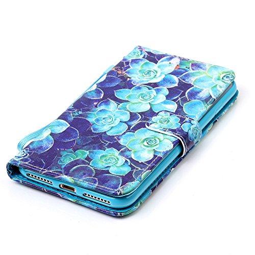 Custodia Apple iPhone 7 Plus Cover Case, Ougger Fiore Blu Portafoglio PU Pelle Magnetico Stand Morbido Silicone Flip Bumper Protettivo Gomma Shell Borsa Custodie con Slot per Schede