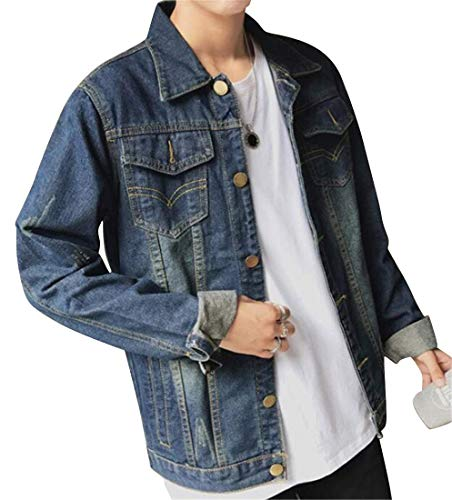 MK988 Mens Distressed Fringes Loose Casual Button Down Denim Trucker Jacket Coat 1 S ()