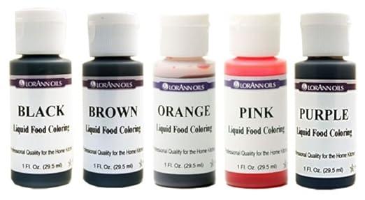 Lorann Oils Liquid Food Coloring - Speciality Colors Bundle- Black, Brown,  Orange, Pink, Purple - Set of Five 1...
