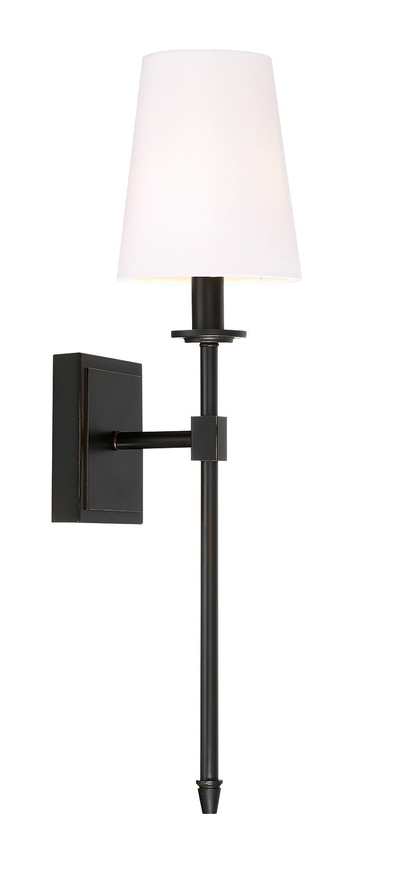 Kira Home Torche 20'' Wall Sconce/Wall Light + Linen Shade, Oil-Rubbed Bronze Finish
