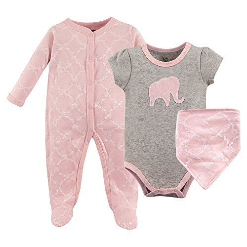 Hudson Baby Baby Multi Piece Clothing Set, Pink Elephant 3 Piece, 0-3 Months (Baby Bib Elephant Pink)