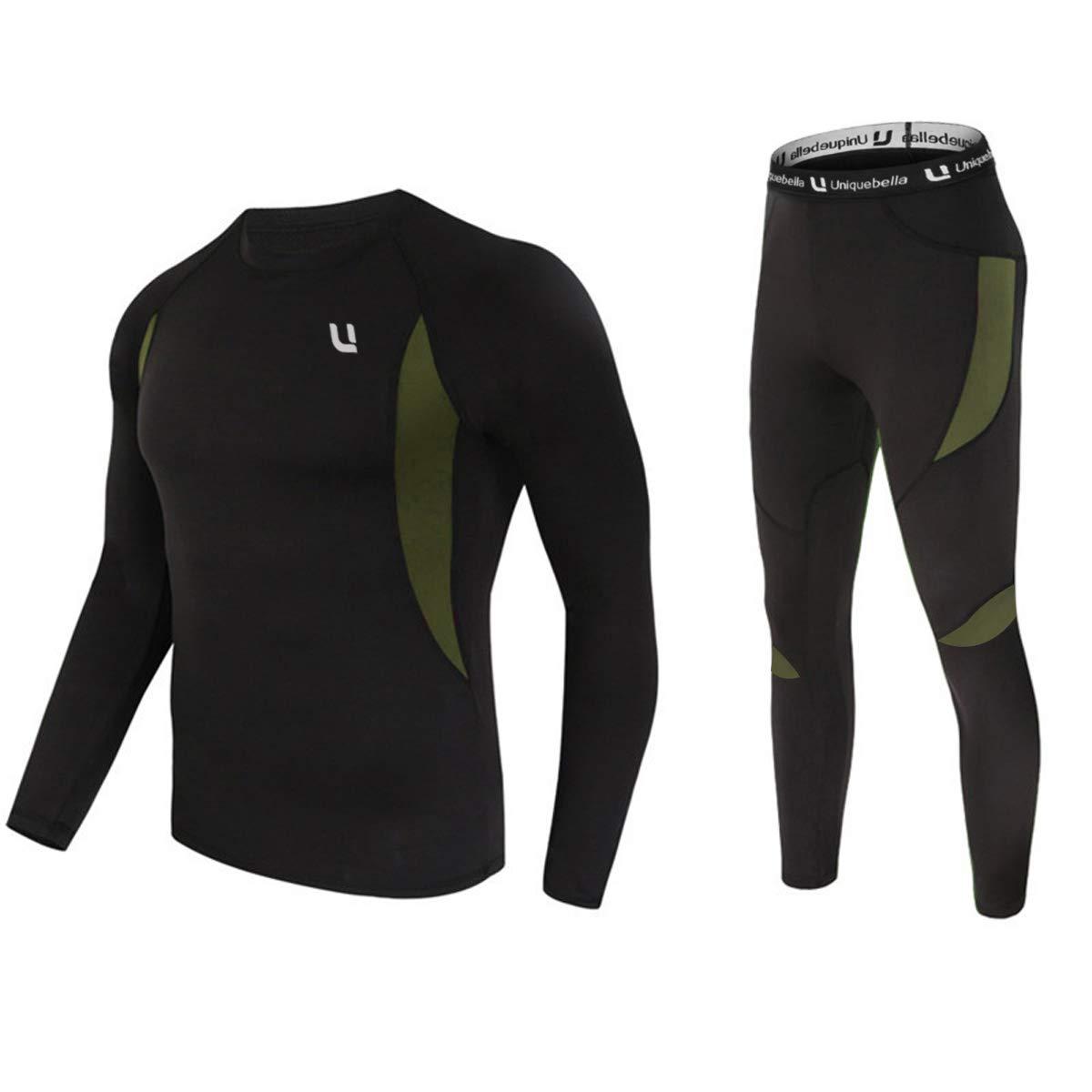 UNIQUEBELLA Thermounterwäsche Set, Funktionswäsche Herren Skiunterwäsche Winter Suit Ski Thermo-Unterwäsche Thermowäsche Unterhemd + Unterhose