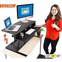 FlexPro Power Electric Standing Desk |Electric Height-Adjustable Stand up Desk | By Award Winning Stand Steady! Holds 2 Monitors! (Black) (36)