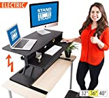 FlexPro Power Electric Standing Desk |Electric Height-Adjustable Stand up Desk | By Award Winning Stand Steady! Holds 2 Monitors! (Black) (36'')