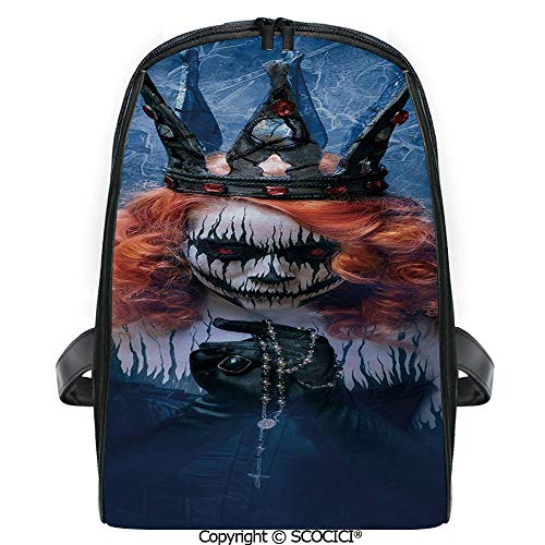 SCOCICI Casual Stylish Backpack Queen of Death Scary Body Art Halloween Evil Face Bizarre Make Up Zombie 2019 Deals! One Size -