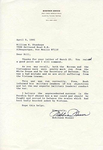 "Brigadier General James R.""Robbie"" Risner Typed Letter Signed 04/05/1991"
