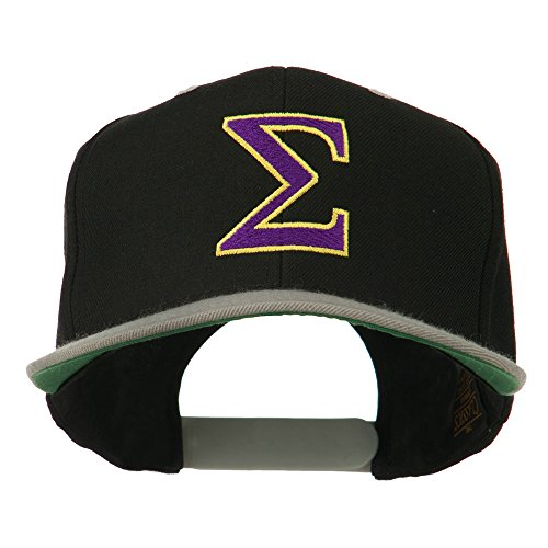 (Greek Alphabet SIGMA Embroidered Two Tone Cap - Black Silver OSFM)