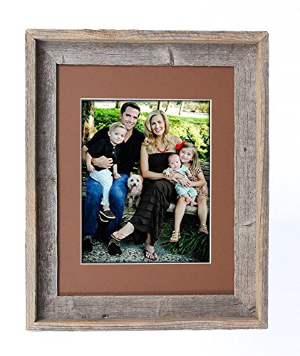 BarnwoodUSA 8 by 10 Inch Signature Picture Frame for 5 by 7 Inch Photos - 100% Reclaimed Wood, Aged Oak Mat (Reclaimed Oak Table Top)
