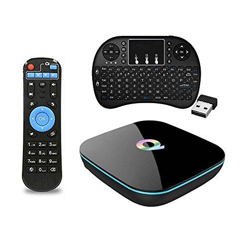 QBox TV Box + Wireless Keyboard, 4K 2GB 16GB Dual Wifi 2.4GHz 5.0GHz Android 5.1.1 Quad Core 3D Bluetooth Smart Media Box (16G+Keyboard)