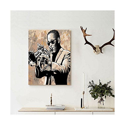 Liguo88 Custom canvas Jazz Music Decor Wall Hanging Grunge Style Illustration of an African Musician with Sunglasses Playing Trumpet Decor Beige - York New Style Sunglasses