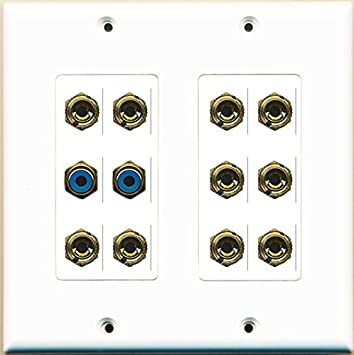 Blue Wall Plate Insert White RiteAV Cat6 RCA