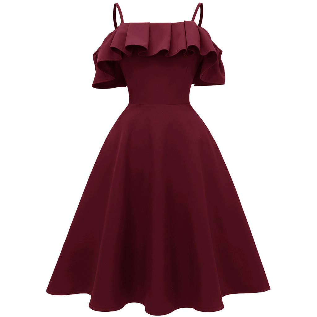 Women Sexy Off Shoulder Spaghetti Strap Ruffled Long Dress for Evening Party Cocktail Wedding Sundress Skirt Daorokanduhp Red