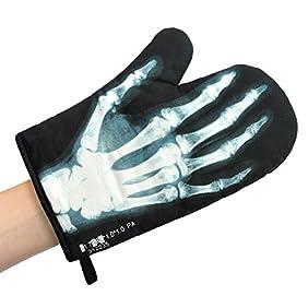 Mustard Oven Mitt Glove - Black X-Ray