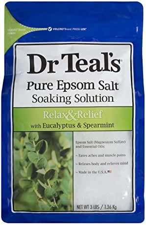 Dr. Teal's Pure Epsom Salt Soaking Solution, Relax & Relief With Eucalyptus & Spearmint, 3 Pound Bag