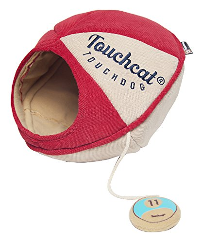 TOUCHCAT 'Oval Saucer' Collapsible Walk-Through Kitty Pet Cat Bed House w/ Play Active Teaser Toy, Large, Red