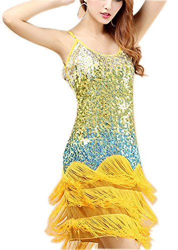Shimmer Tassel Sequin Gradient Roaring 20s Century Flapper Dress Costume Yellow, Yellow -