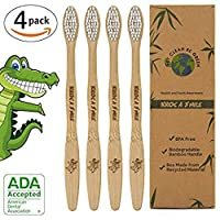 Bamboo Toothbrush,Kroo NV Eco-friendly 100% Organic and Biodegradable Soft BPA Free Bristles for Kids and Adults Humble Toothbrush (White, Pack of 4)