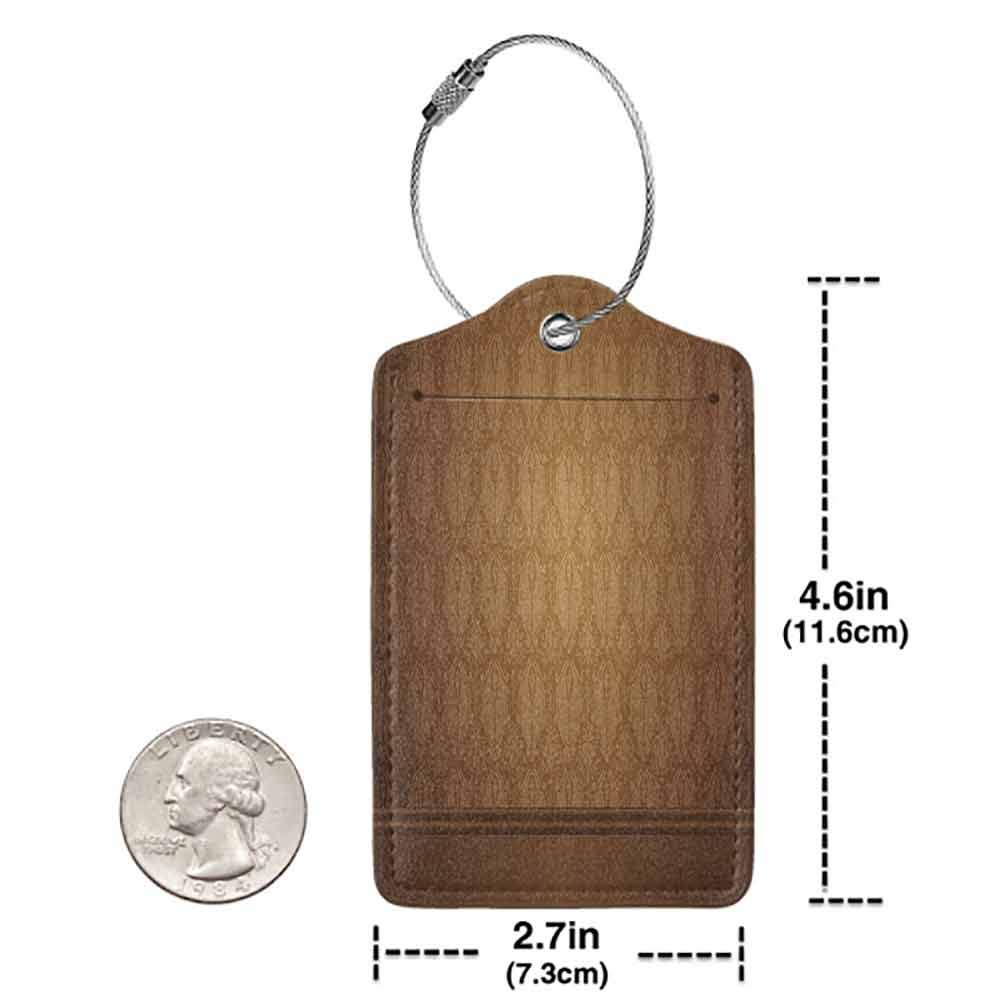 Decorative luggage tag Tan Antique Motifs with Damask Flowers Victorian Ancient Elements Royal Aged Vintage Art Suitable for travel Brown Tan W2.7 x L4.6