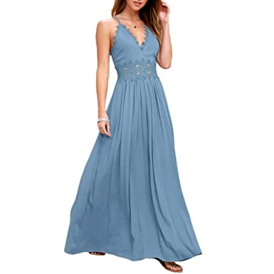 537097e2c30 iBaste_S Women's Long Chiffon Dress Sexy Sleeveless V Neck Strappy Summer  Evening Party Beach Maxi Dress