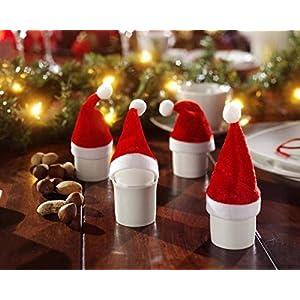 H&B 10Mini de décoration Père Noël Chapeaux Bonnets de Noël décoration de Noël adventde koca. 11cm de Haut 4