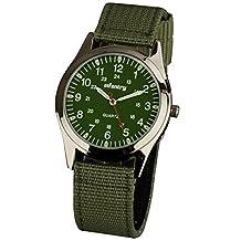 INFANTYR Mens 12/24H Military Watch Analog Sports Green Nylon Strap