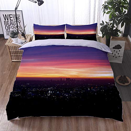 - HOOMORE Bed Comforter - 3-Piece Duvet -All Season, Magical Hollywood Sunset,HypoallergenicDuvet-MachineWashable -Twin-Full-Queen-King-Home-Hotel -School