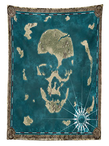 Ambesonne Island Map Decor Tablecloth, Skull Theme Marine Nautical Skeleton Head Stylized as Islands Geographic Navigation, Rectangular Table Cover for Dining Room Kitchen, 52x70 Inches, Green Blue