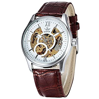 ALPS luxury Men's Automatic Skeleton Mechanical Self Wind Business Leather Strap Wristwatch