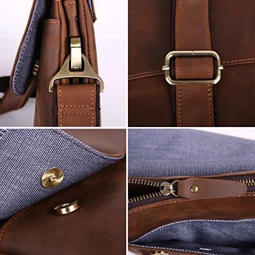 Leathario bolso bandolera para hombres de estilo clásico simple y retro con La primera capa de cuero para diario viaje o trabajo. café