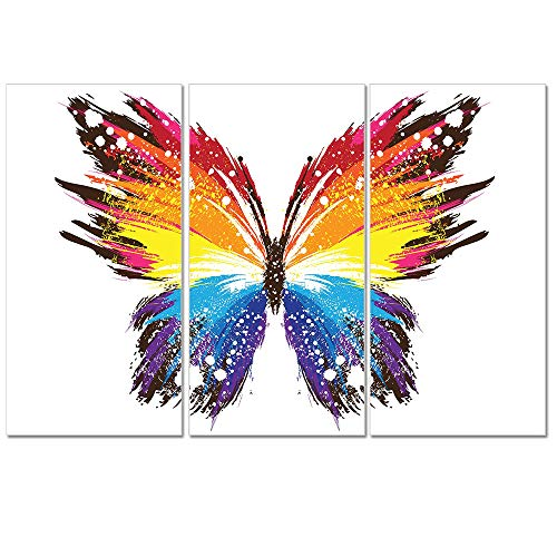 Multicolour Art Color Butterfly Print Picture for Living Room Decoration Stretched Large 3 Panels Painting Wall Art Print on White and Orange Canvas- High Definition Modern Home Decor