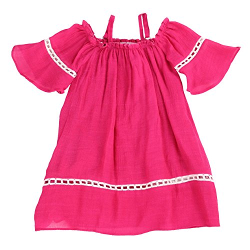 Toddlers and Girls Billowy Gauze-Cotton Madeline Off-Shoulder Dress in Bright Fuchsia Size 4T -
