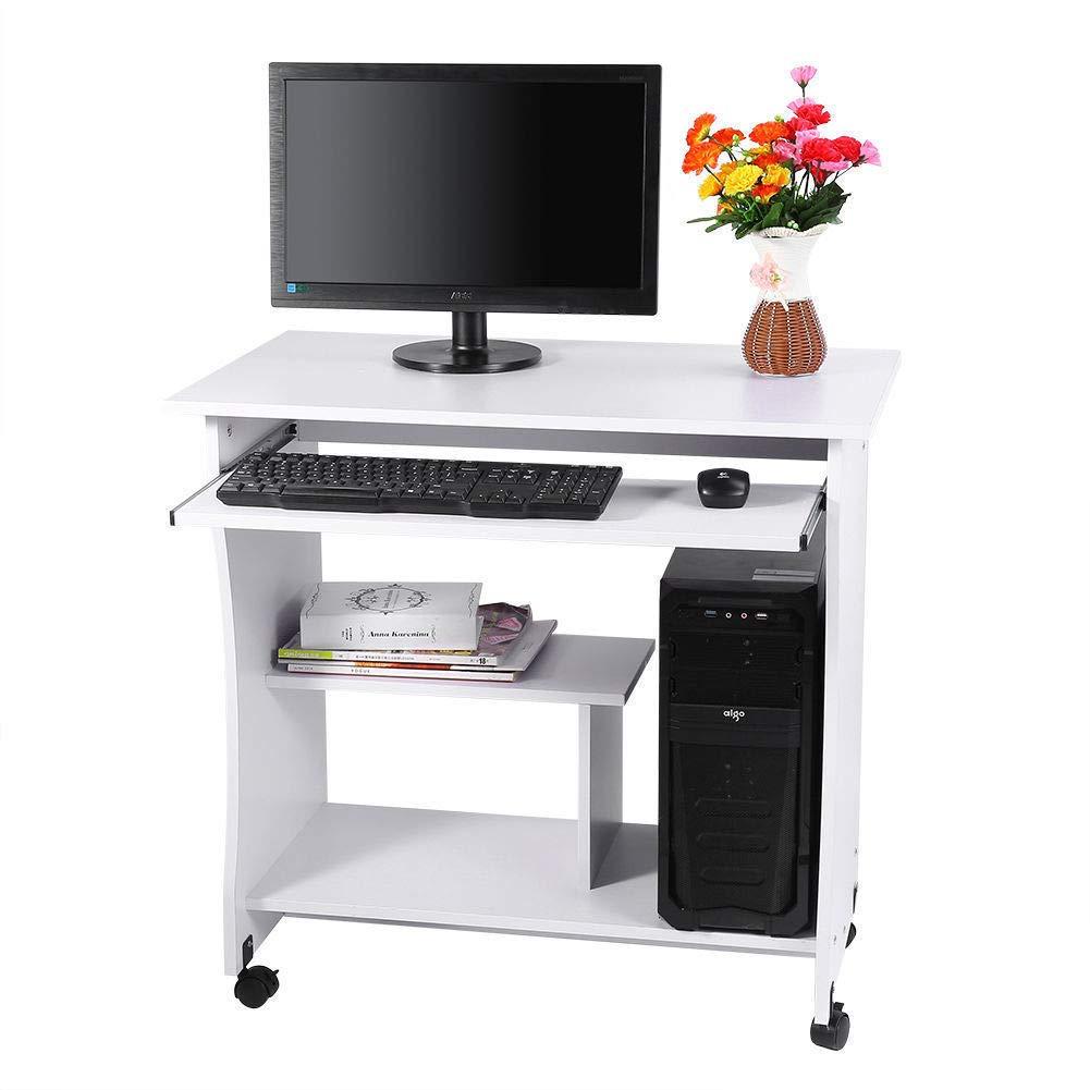 GOTOTOP Scrivania Tavolo per Computer con Ruote Porta PC Ufficio, Scrivania porta PC Tavolo con portatastiera scorrevole Studio Postazione di Lavoro Scrivania, 80 * 49.5 * 76CM