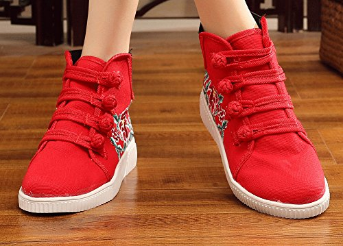 AvaCostume Womens Casual Retro Embroidery Non-Slip Buckle Canvas Shoes Red mwAII3W
