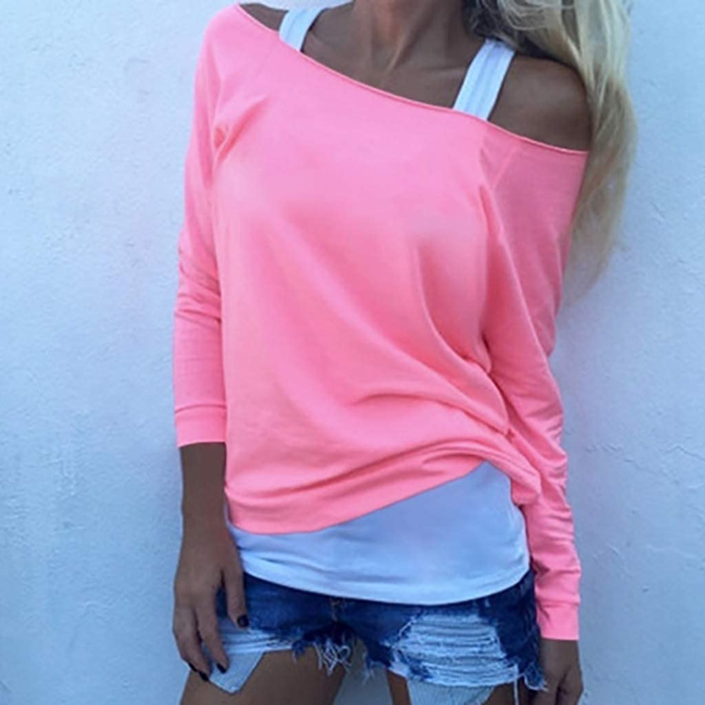 iLOOSKR Fashion Womens Ladies Long Sleeve Solid Off Shoulder Blouse Shirt Pullover Tops