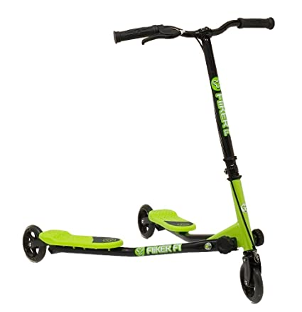 Y Fliker Scooter >> Amazon Com Yvolution Y Fliker F1 Green Three Wheeled Sports