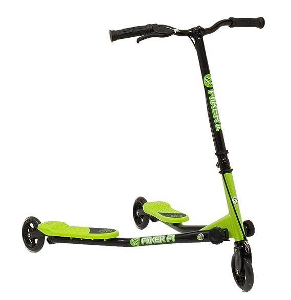 y-volution yfliker F1 - Patinete, color verde y negro ...