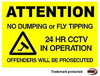 NO FLY TIPPING OR DUMPING - SIGN (Option 1 297x210x3mm PVC) Shire Oak Signs and Graphics of Staffordshire