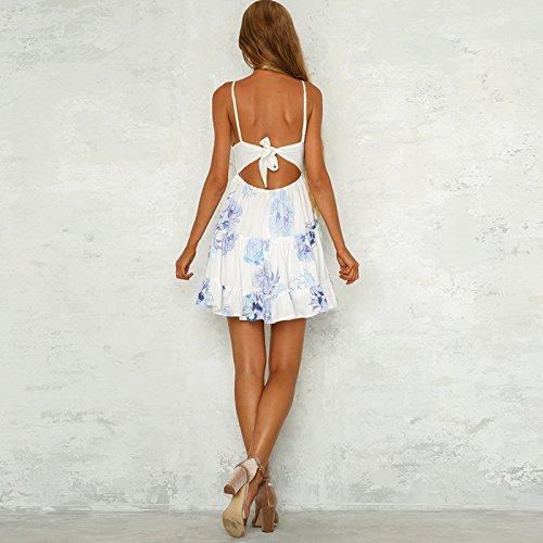 Garza Maniche Di Floreale A Clothink Strati Stampa Donne Pannello Senza Stile Abito 3 Più floreale Bianco PWYxqgH