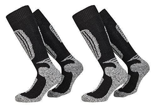 2 Paar Paar hochwertige Pistensauser - Skisocken für die ganze Familie (35-38, Black-Grey)