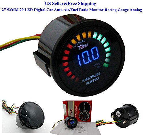 US 2'' 52MM 20 LED Digital Car Auto Air/Fuel Ratio Monitor Racing Gauge (2' Voltmeter)