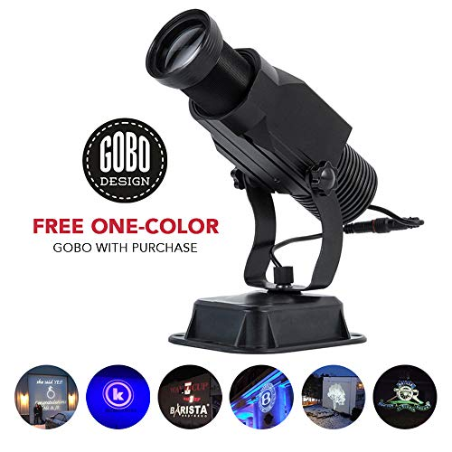 Instagobo 15W LED Custom Image GOBO Logo Projector Light with Static Function Manual Zoom&Focus Customized Gobos for Indoor Use Company Hotel Restaurant Advertising Signs (Black) ()