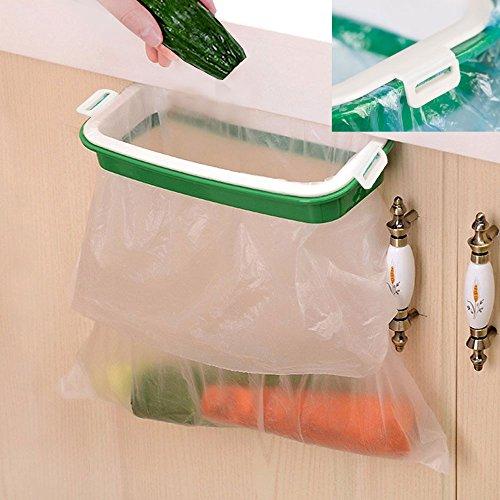 Trash Bag Holder- Multi for Kitchen Cabinet Door Storage Cupboard (Buckle Plastic-Holder), Green