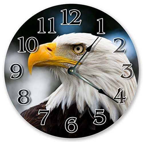 "OliveLewis 12"" Vintage American Bald Head Eagle Clock for sale  Delivered anywhere in USA"