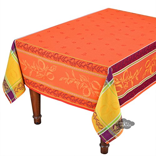 62x138'' Rectangular Lemon Rust French Jacquard Tablecloth with Teflon by Le Cluny French Linens