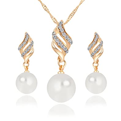 47a8eafe441e56 Amazon.com: Napoo Deals Necklace+Earrings Jewelry Set, Womens Luxury Spiral  Shaped Pearl Stud Jewelry (Gold): Jewelry