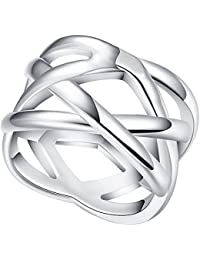 """Jewelry Womens 925 Sterling Silver Plated Weave Double """"X"""" Criss Cross Eternity Ring Wedding Band"""